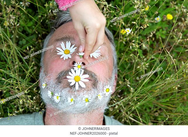 Childs hand putting daisies on man face