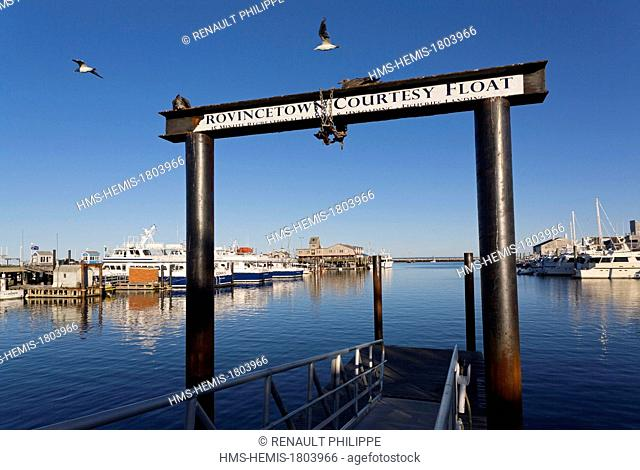 United States, Massachusetts, Cape Cod, Provincetown, port and MacMillan Wharf