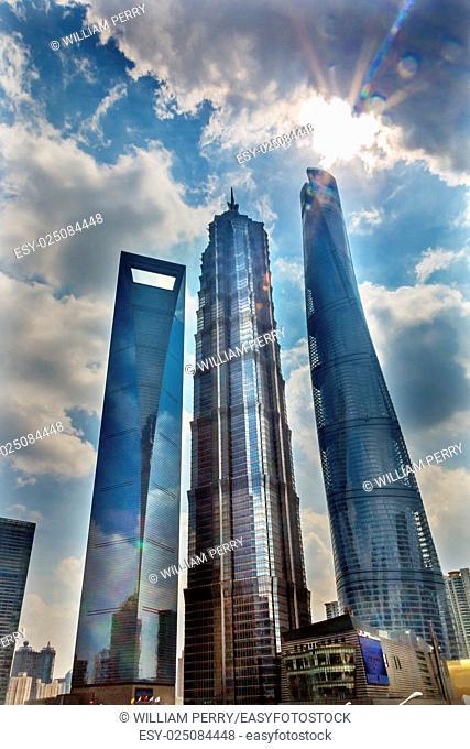 Three Skyscrapers Sun Flare Rainbow Reflections Make Patterns and Designs Liujiashui Financial District Shanghai China. Shanghai Tower