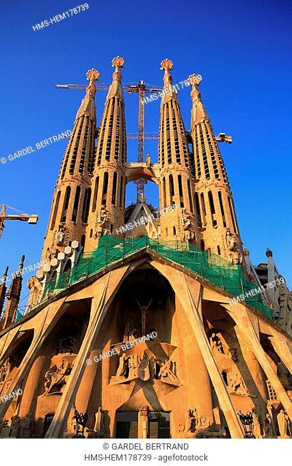 Spain, Catalonia, Barcelona, the Sagrada Familia church by architect Antoni Gaudi, listed as World Heritage by UNESCO