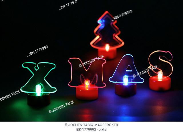 Lighted Christmas decorations, LED lighting, lettering XMAS