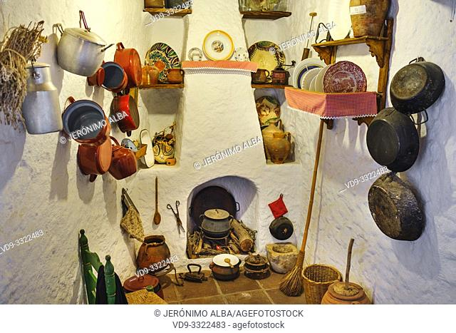 Typical traditional Andalusian kitchen. Casa Ethnographic Museum, Mijas Pueblo. Malaga province, Costa del Sol. Andalusia, Spain Europe