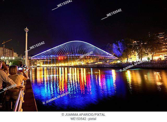 Zubizuri Bridge at night with spectacular light, Bilbao, Biscay, Basque Country, Euskadi, Spain, Europe