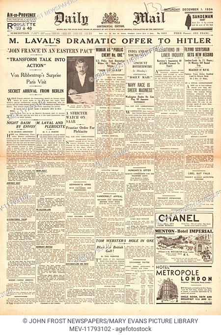 1934 Daily Mail front page France make pact offer to Germany