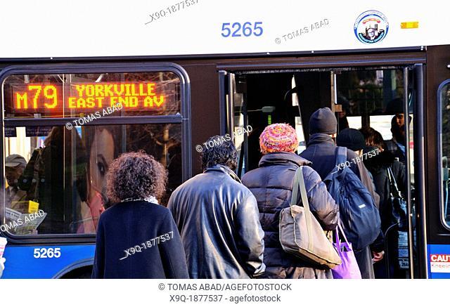 New York City Public Transportation M79 Crosstown MTA Bus on the Upper West Side, Manhattan, New York City, USA