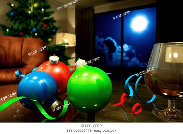 bright decorations and cognac in an interior in christmas night