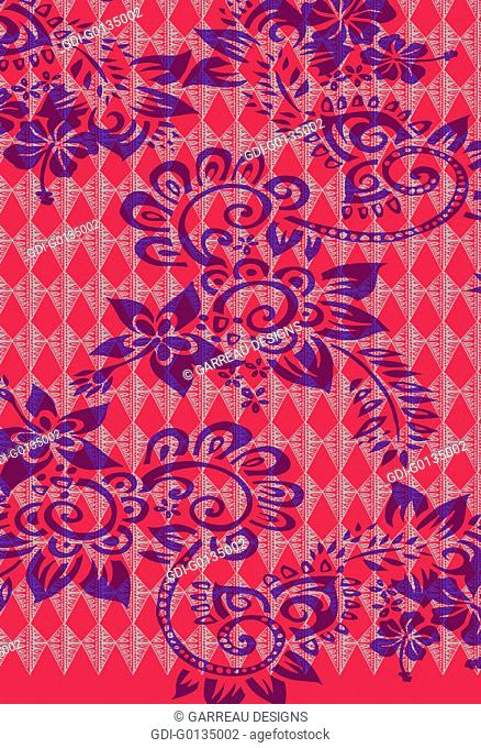 Tropical flowers over geometric background