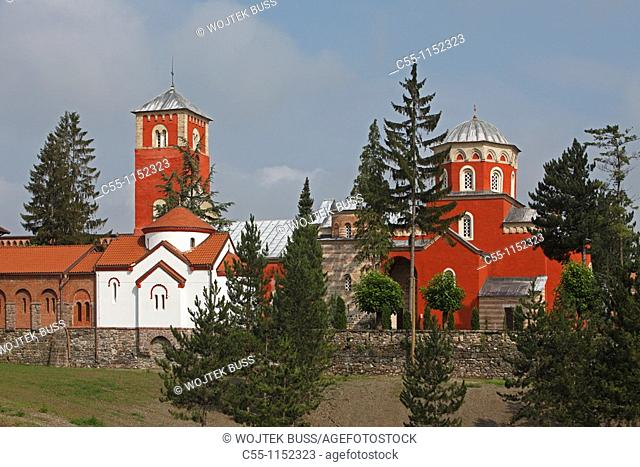 Serbia,Zica Monastery,early 12th century,first Serbian autonomous Archbishopric from 1218,Orthodox,christian,religious,exterior,outside,facade,colour