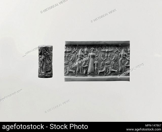 Cylinder seal and modern impression: demons and animals. Period: Late Cypriot II; Date: ca. 14th century BC; Geography: Cyprus; Medium: Hematite; Dimensions: 2
