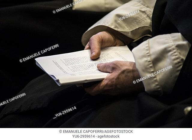 religious hands with prayer book, Vatican, Rome, Italy