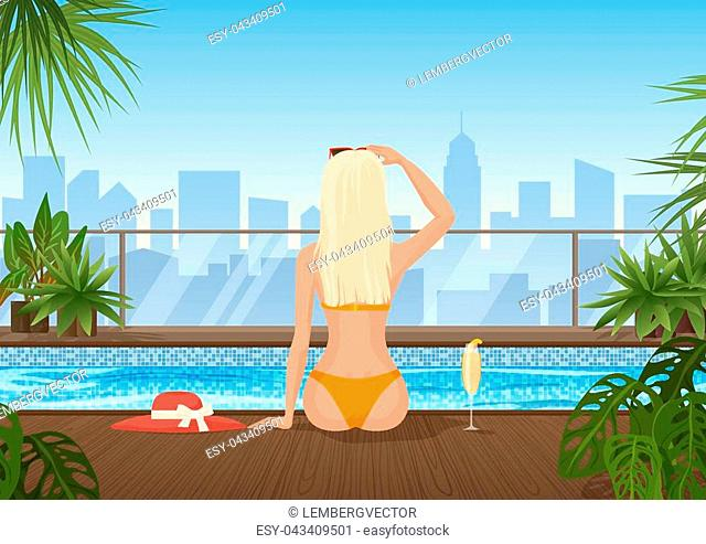 Pretty young woman in the swimming pool with beautiful park city view. Beautiful girl enjoying in the pool