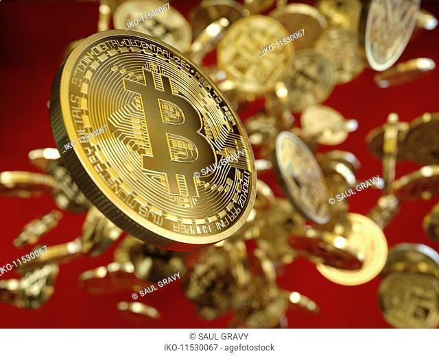 Lots of shiny new gold bitcoins falling