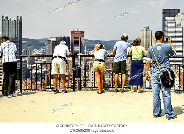 People on the viewing platform at the top of Mount Washington looking at downtown Pittsburgh Pennsylvania PA