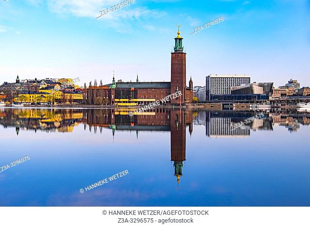 Scenic panorama of the Town Hall in Stockholm, Sweden