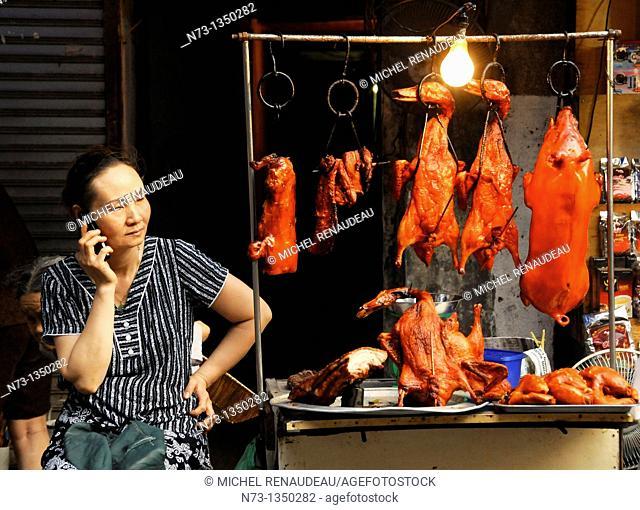 Vietnam, Hanoi old town market scene