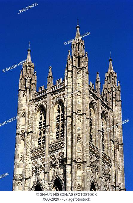 Central Tower or Bell Harry Tower of Canterbury Cathedral in City of Canterbury in Kent in England in Great Britain in the United Kingdom UK Europe