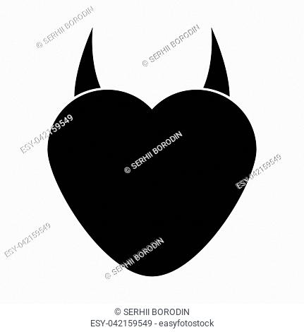 Heart with devil horn it is black color icon
