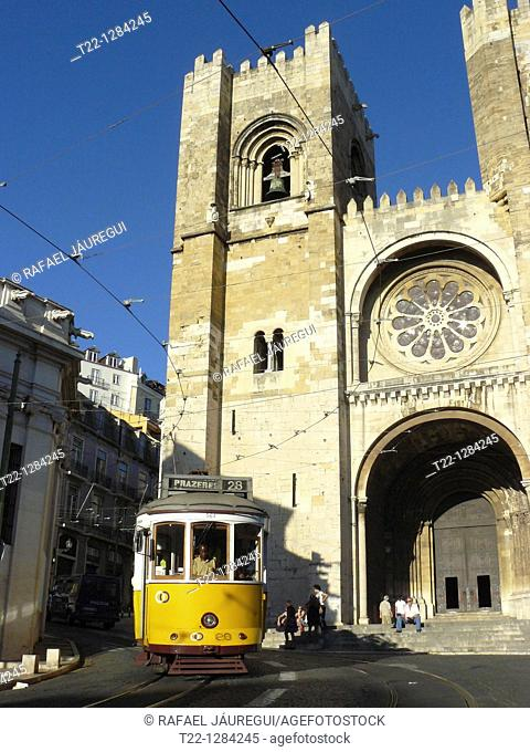 Tram next to the Cathedral of Lisbon Portugal