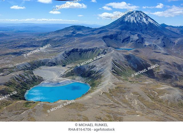 Aerial of the blue lake before Mount Ngauruhoe, Tongariro National Park, UNESCO World Heritage Site, North Island, New Zealand, Pacific