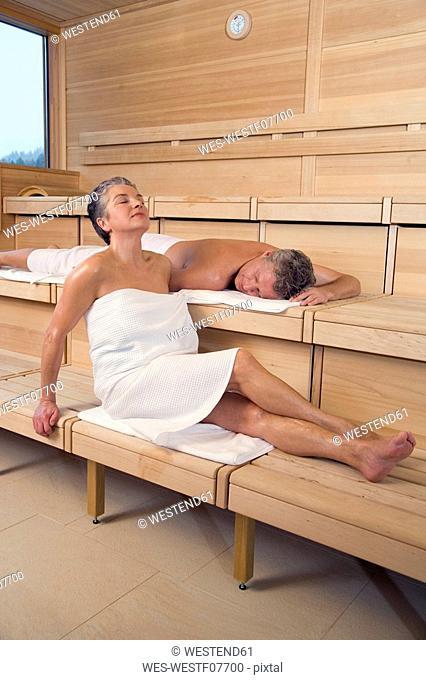 Mature women in sauna