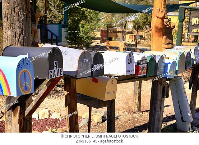 Crazy wild painted mail boxes on highway NM-14 in dowtown Madrid, New Mexico