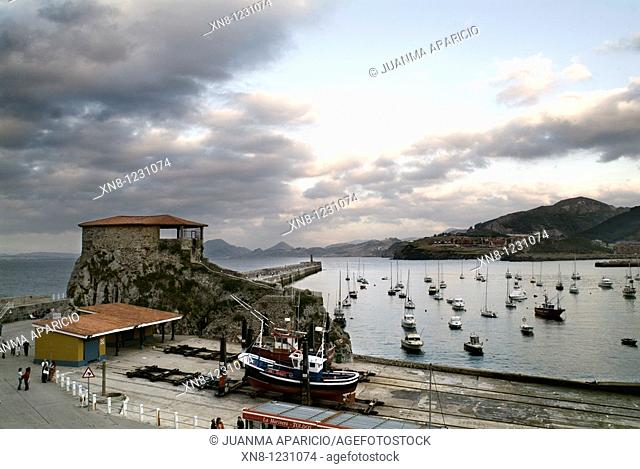 St. Guillen ramp and Chapel of Santa Ana in Castro Urdiales with a storm threatening sky, Cantabria, Spain