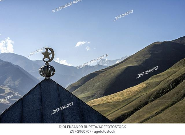 Mosque on the top of Khinalig village. Khinalig is an ancient village deep in the Caucasian mountains on the height of more than 2