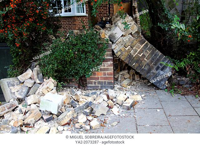 28 October 2013 - London - Clapham Common - Morning of and after wind and storms, Destruction Of Brick Boundary wall Between Two Properties on Victoria Rise SW4