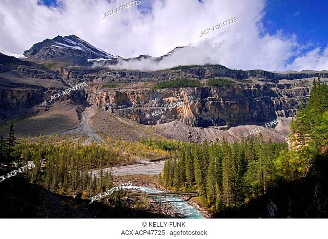 The Robson River flows at the south end of the Valley of a thousand falls on Mt. Robson, Mt. Robson Provincial park, Thompson Okanagan region of British...