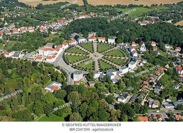 Aerial view, Circus, Putbus, Ruegen Island, Mecklenburg-Western Pomerania, Germany, Europe