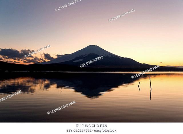 Mt. Fuji and lake at sunset