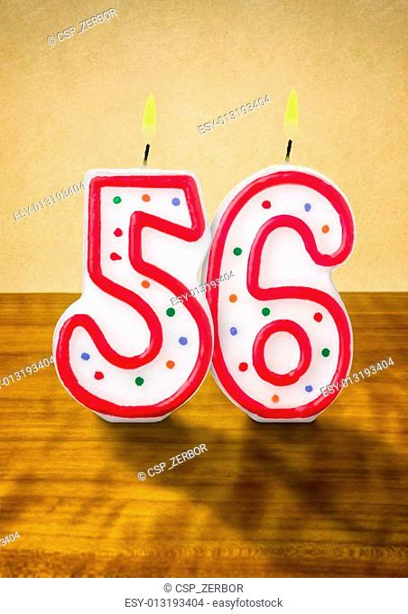 Burning Birthday Candles Number 56