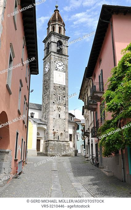 Switzerland: The historic clock tower in Ascona City at Lake Langensee in Ticino