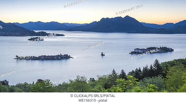 Borromean Islands, Stresa, Lake Maggiore, Verbano-Cusio-Ossola, Piedmont, Italy. Panoramic view over the isles at dawn