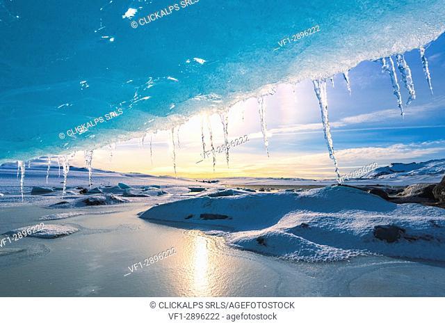 Fjallsarlon glacier lagoon frozen in winter, East Iceland, Iceland