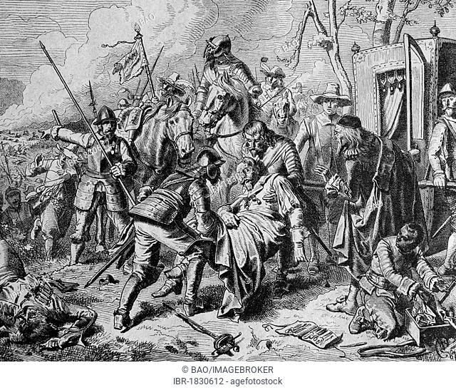 Johann Tserclaes, Count of Tilly, at the Battle of Lech, 15th April 1632, mortally injured, historic illustration, 1877