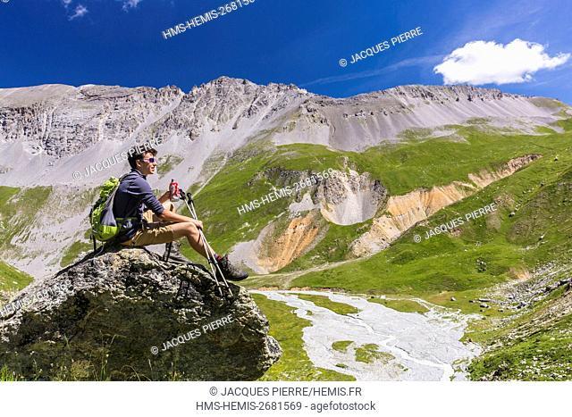 France, Savoie, Massif de la Vanoise, National Park of Vanoise, Meribel, view of the Doron des Allues and the Grands Diners