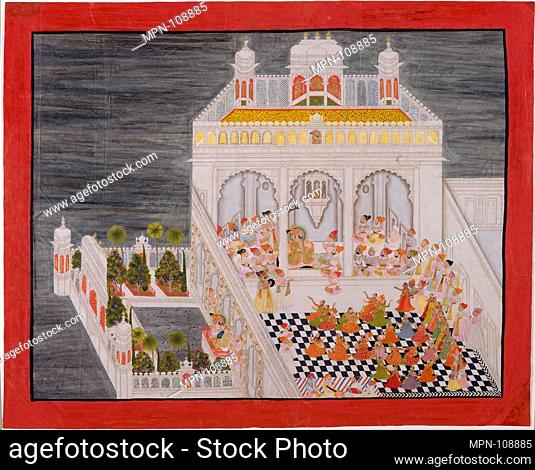 Maharana Ari Singh with His Courtiers Being Entertained at the Jagniwas Water Palace. Artist: Bhima , Indian; Artist: Kesu Ram (Indian); Artist: Bhopa (Indian);...