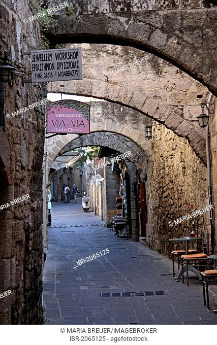 Alley with stone arches, historic centre of Rhodes, Greece, Europe, PublicGround