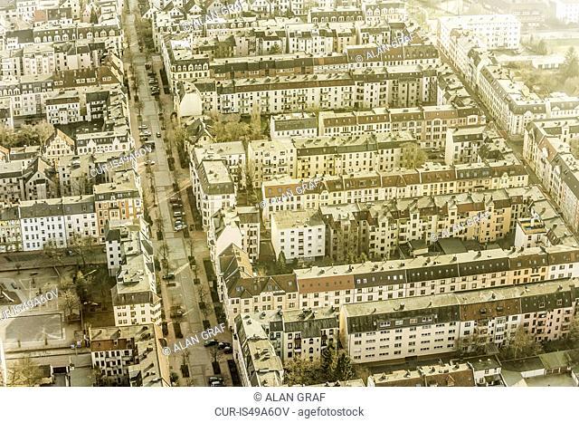 Aerial view of city apartment blocks, Bremerhaven, Bremen, Germany