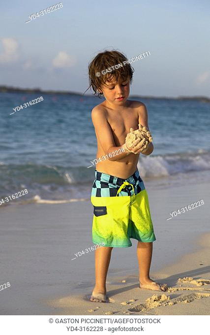 Playing in the beach, Cabbage Beach, New Providence Island, Paradise Island, Bahamas