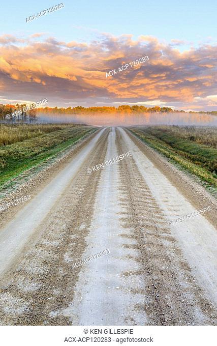 Dirt road at sunrise, Western Manitoba, Canada