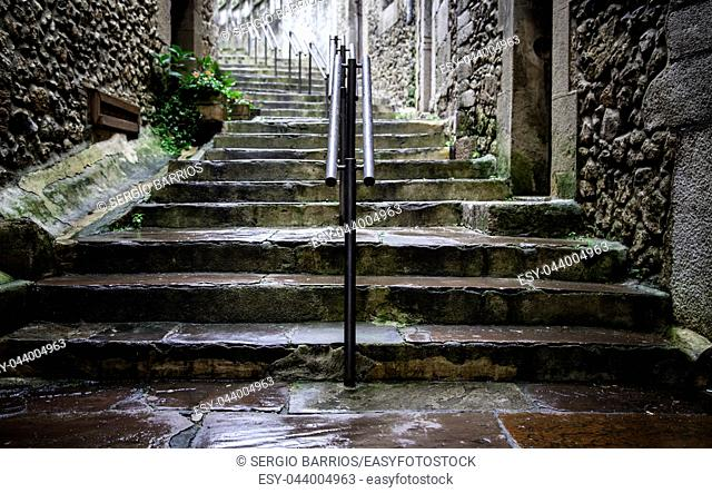 Ancient stone staircase, access detail