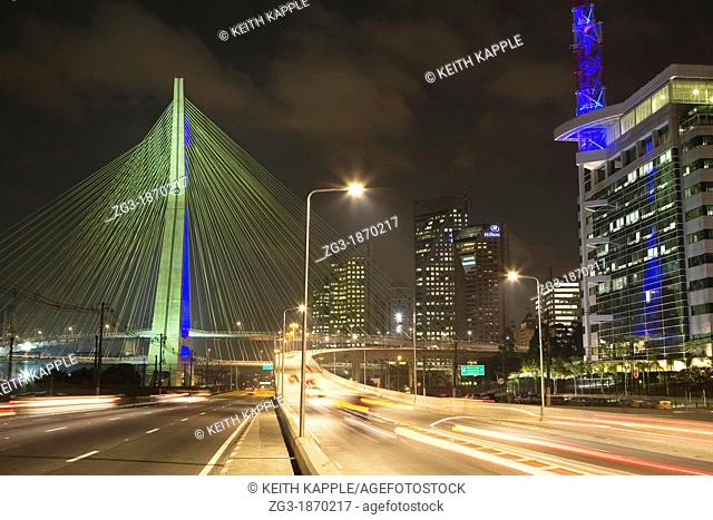 Octavio Frias de Oliveira Bridge Over Pinheiros Riverat night in Sao Paulo Brazil