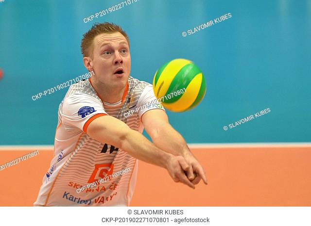 Daan Van Haarlem (Karlovy Vary) in action during the 6th round group B of volleyball Champions League match Karlovarsko vs Modena in Karlovy Vary