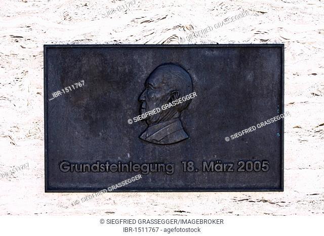 Metal plaque of Konrad Adenauer on the building of the Konrad Adenauer Foundation in Berlin, Germany, Europe