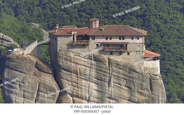 Rock pillar top eastern Orthodox Monastery of Varlaam, 1543, Meteora mountains, Greece