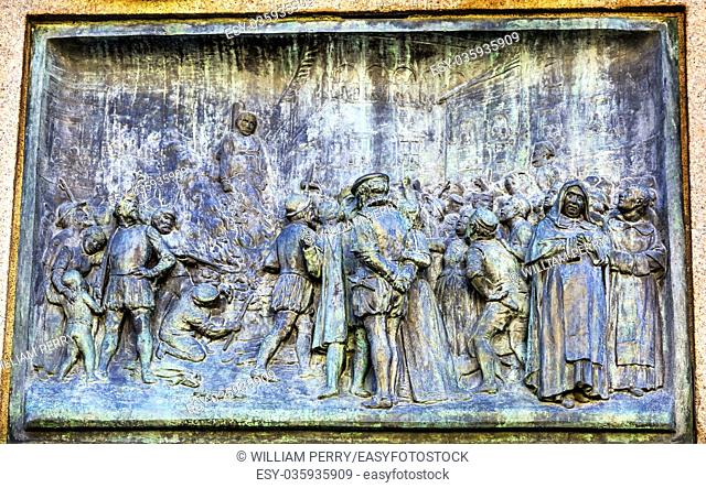 Giiordano Bruno Execution Statue Campo de' Fiori Rome Italy. Bruno was heretic burned at stake in Campo de' Fiori. Statue by Ferrari in 1889