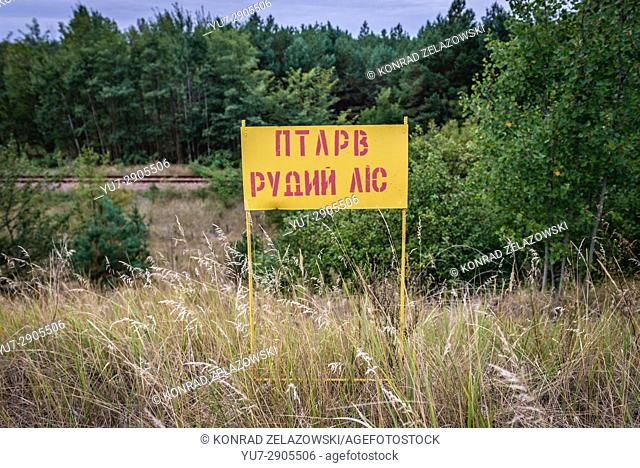Sign in so called Red Forest area surrounding Chernobyl Nuclear Power Plant, Zone of Alienation, Ukraine
