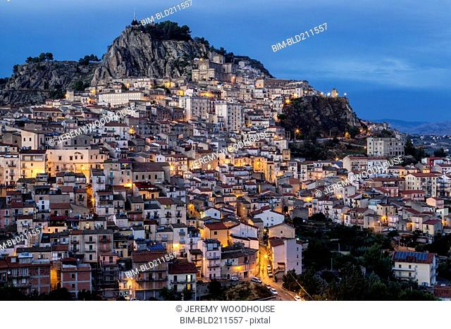 Hillside town at dusk, Nicosia, Sicily, Italy